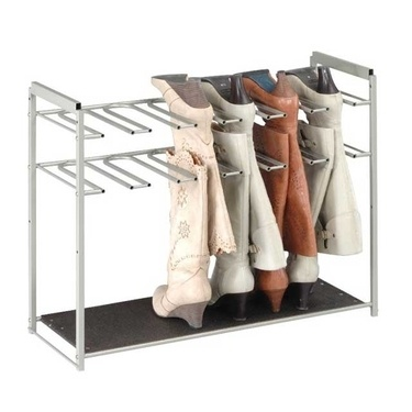 Stackable Chrome Boot Storage Rack - 6 Pair.. is it kind of ridiculous that I have enough boots that i really need this? ... Nahhhhh a girl can never have too many pairs of shoes.