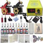 Komplett Tattoomaschine Set 2 Maschinen Tinte Tätowier Netzgerät Fußpedal Farben