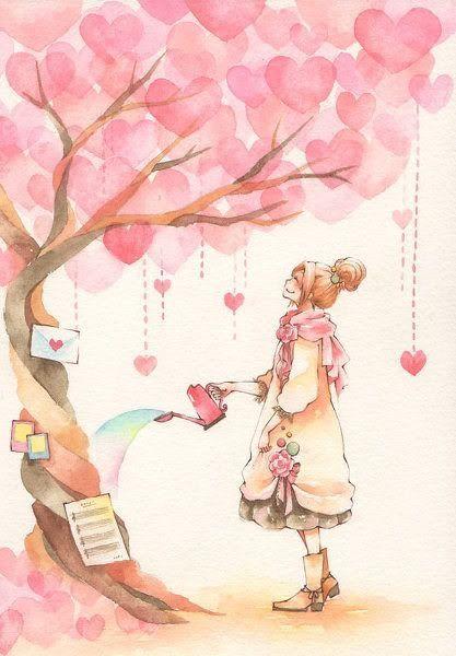 Árvore // rosa // coração // lindo // ilustração // <3