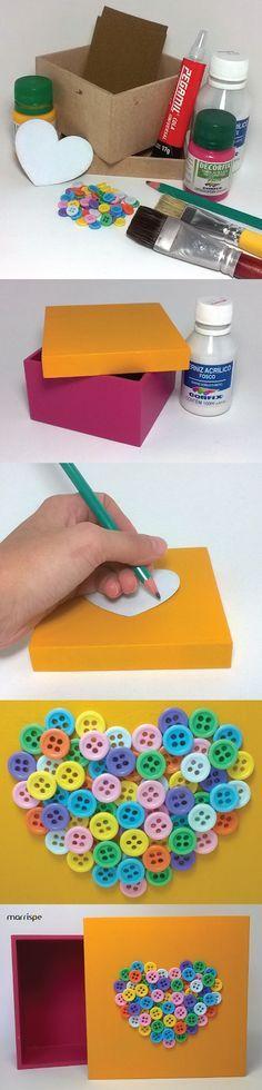 Passo-a-passo de caixa em mdf decorada com botões #artesanato #mdf #madeira…
