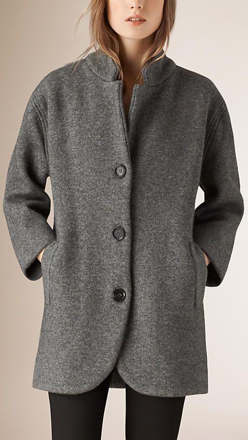 camaeu de gris moyens manteau cardigan en laine mlange contrecolle image 1