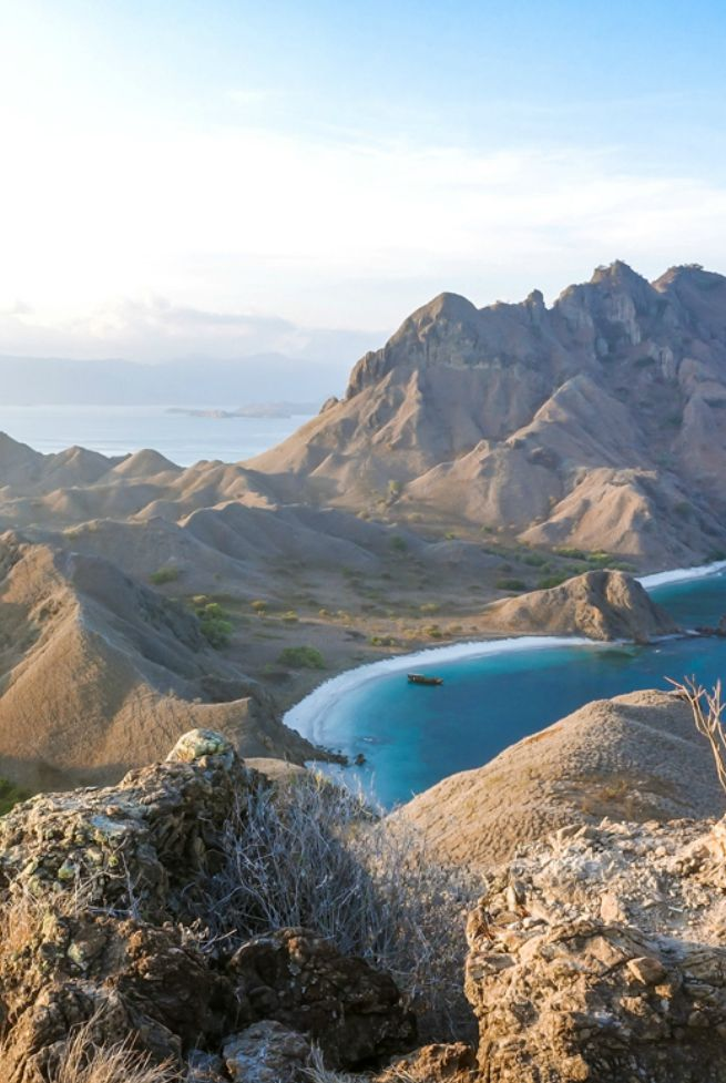 View from Padar Island over the Komodo Islands, Indonesia. From here you can actually see four diffferent beaches (Pinterest doesn't do this justice).