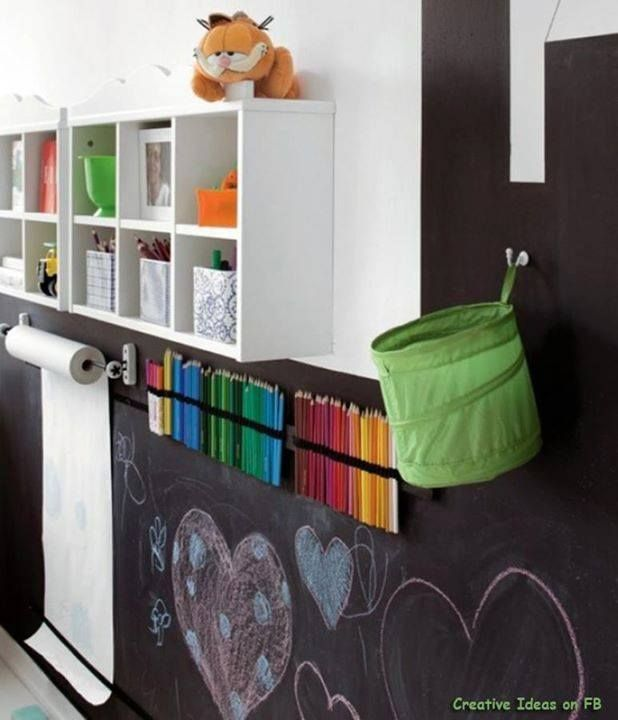 Chalkboard wall and supplies.  I like the height of the board.  Good idea for paper towels and chalk holder/eraser