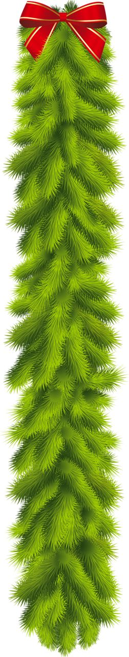 Transparent Christmas Pine Garland with Red Bow Clipart