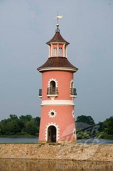 SuperStock - Niederer Grossteich lake and lighthouse, Moritzburg, Dresden, Saxony, Germany