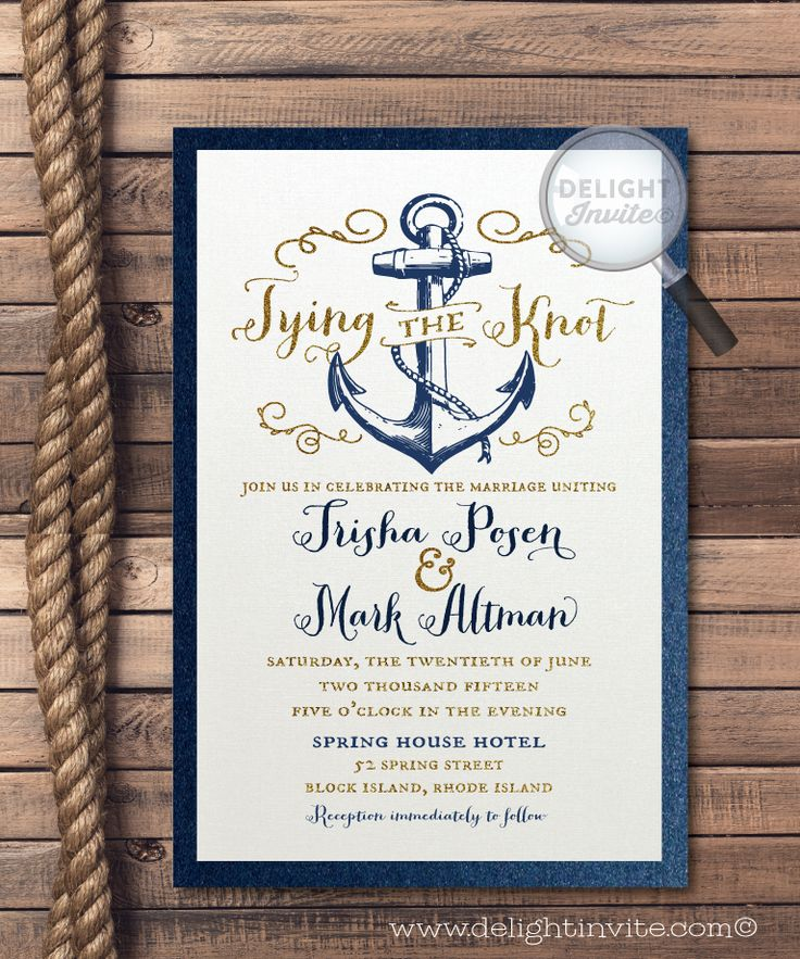 Rustic Anchor Tie the Knot Wedding Invitations, nautical wedding, rustic nautical wedding invites, anchor wedding theme, anchor wedding invitations, 2 piece hand-mounted, professionally printed wedding invitations