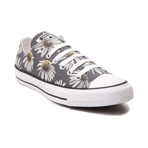 Do it right with daisies and this super cute Chuck Taylor All Star Lo Sneaker from Converse! These sweet Chucks featuring a sunflower printed, textile upper with signature Converse rubber cap toe. <b>Only available at Journeys and SHI by Journeys! Available to ship in July; pre-order yours today</b>  <br><br><u>Features include</u>:<br> > Low top style constructed with daisies printed textile uppers and breathable canvas lining<br> > Lace-up closure<br> > Signature Chucks rubber cap toe…