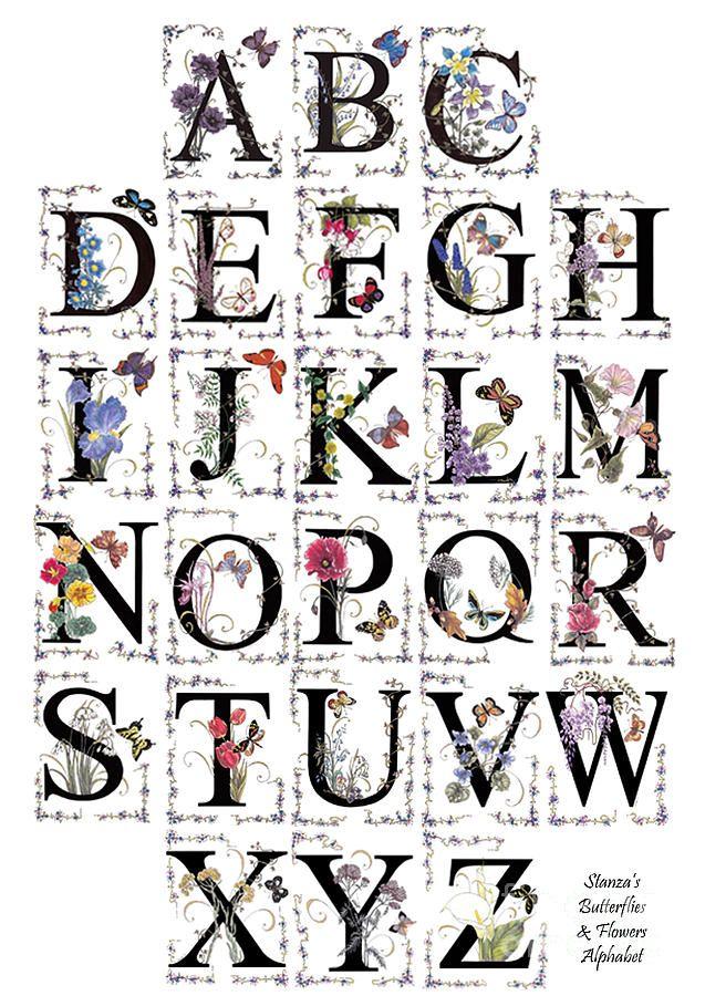 Illuminated Manuscript Letters A-Z   Stanzas Butterflies And Flowers Alphabet Digital Art