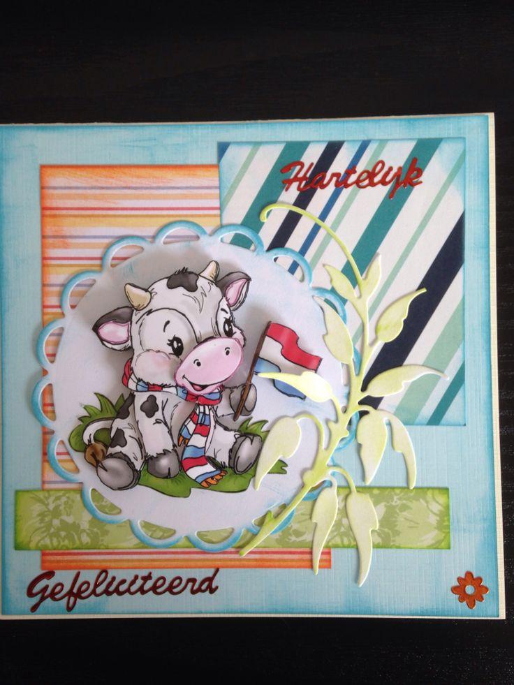 Een gezellig kaartje met een koetje. Plaatje van Yvonne Design