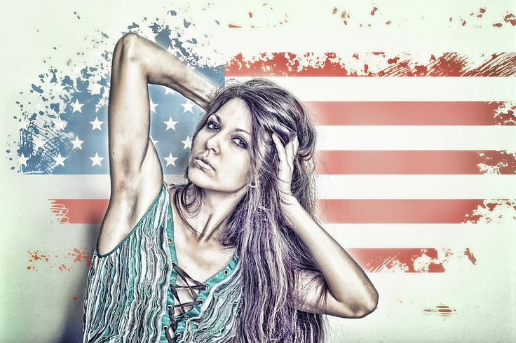 Usa Mixed Media - Portrait Of A Girl On The Background Of A Stylized Usa Map by Mariia Kalinichenko #MariiaKalinichenkoFineArtPhotography #FineArtPrint #USAFlag #Portrait #Girl