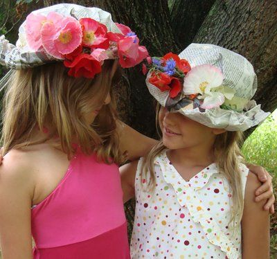 Super fun hats to make with newpaper, masking tape, and decorate any way you want.
