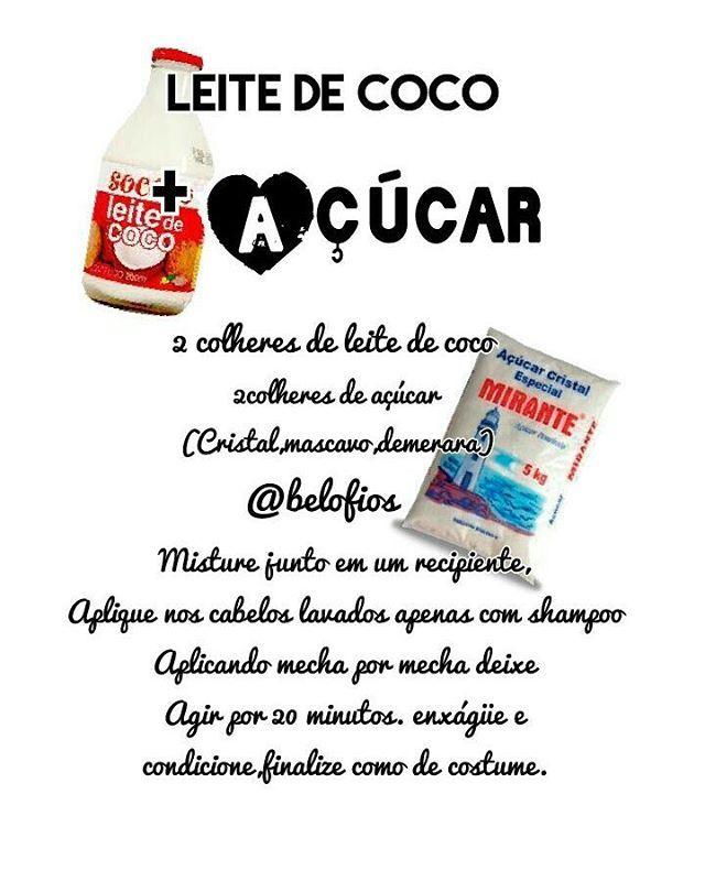 Hidratação com leite de coco e açúcar!!! Adorei a combinação, brilho e hidratação garantido👍👍👍 #@belofios #cronogramacapilar #etapa #hidratacao