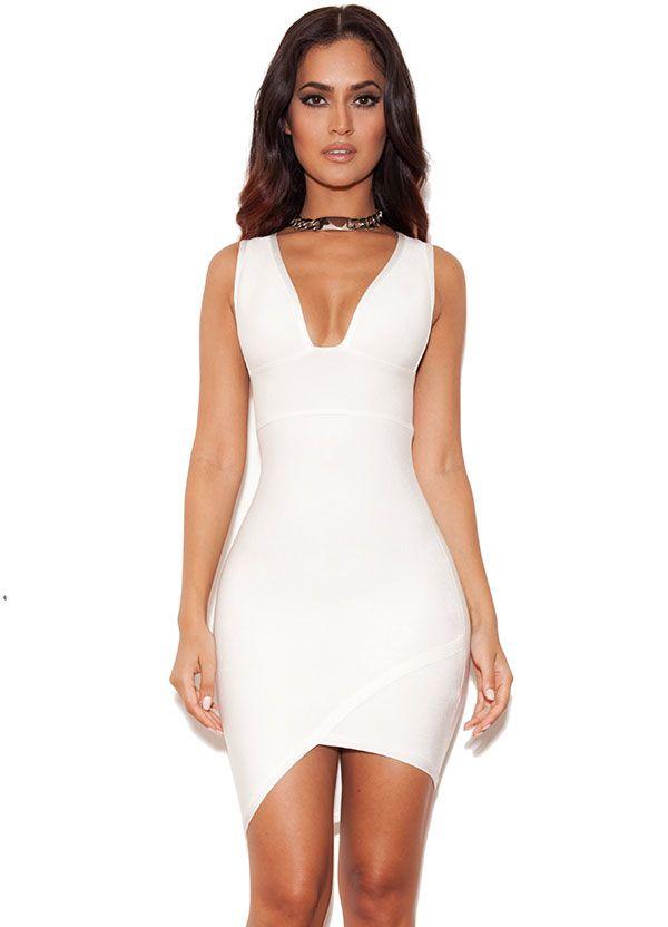 Sacha White Bandage Deep V Dress