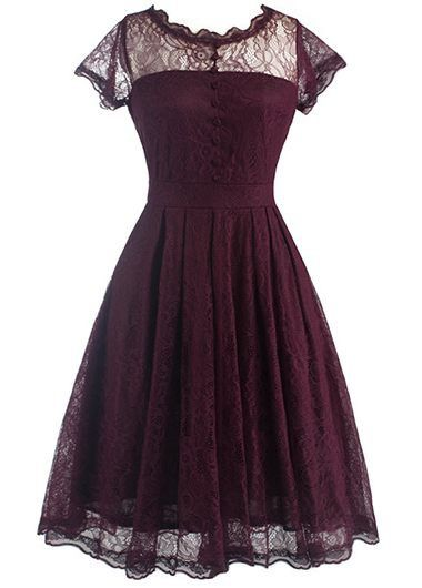 Wine Red V Back Cap Sleeve Skater Dress on sale only US$29.69 now, buy cheap Wine Red V Back Cap Sleeve Skater Dress at lulugal.com