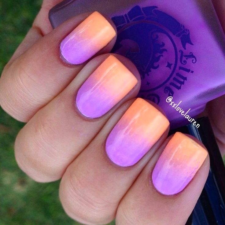 Summer sunset  ombre nail art by xxlovelauren. Using Lime Crime polishes in PeachesCream and Lavendairy, available now!