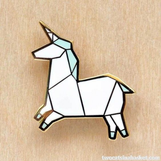 Broche Origami Unicorn - TWO CATS IN A BASKET