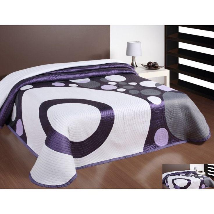 Prehoz na posteľ bielo-fialovo-sivej farby s motívom kruhov
