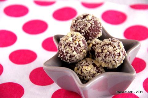Truffes choco-carambar enrobées de sucre pétillant (sans beurre)