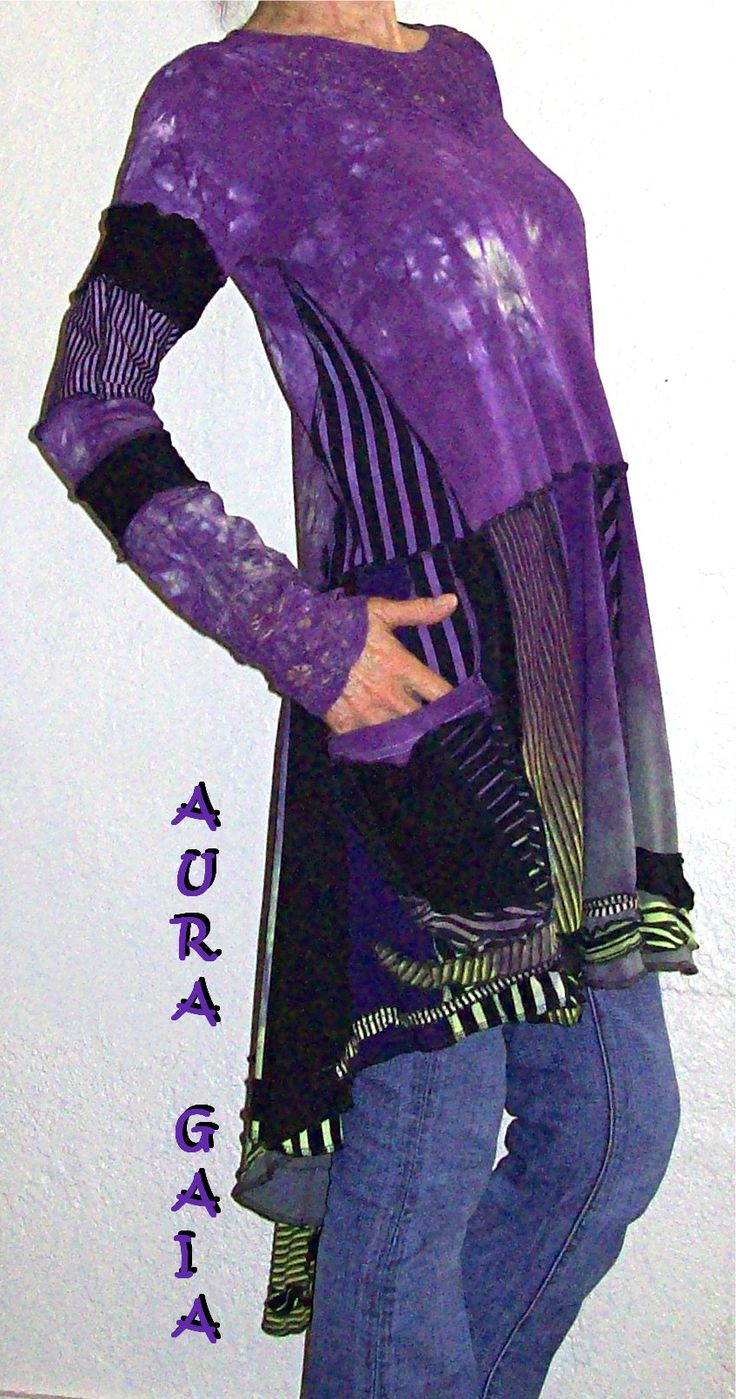 AuraGaia ~ Wild Viola ~ Butterfly Tail Serger Madness Upcycled Overdyed Tunic Dress