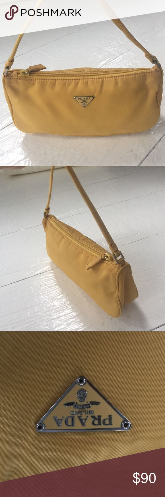 Prada handbag Small yellow Prada shoulder bag. Used. Authentic. Nylon with silver hardware. Prada Bags Shoulder Bags