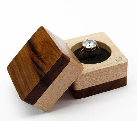 Engagement Ring Box Wedding Ring Box Unique Wood Ring Case Wood Jewelry Box Wooden Ring Box Wood Ring Box