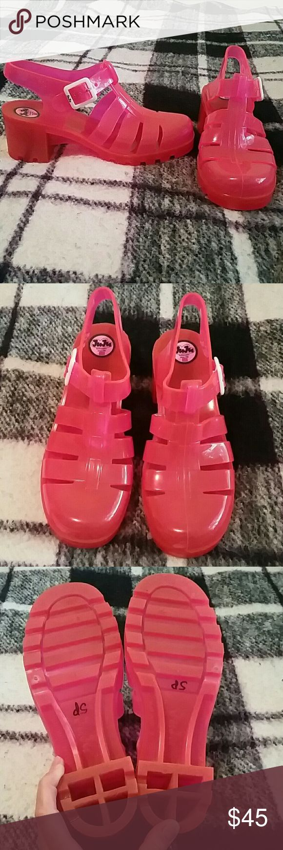 Original JuJu Jellies Hot Pink! Impeccable condition Original JuJu Jellies made in England. UK size 7, I wear a size 8/8.5 and they fit me great. Don't miss out on these super funky cute jellies! Tiny white scuff on the back of the right heel as seen in photo #4, can probably be cleaned or scraped off JuJu Shoes Sandals