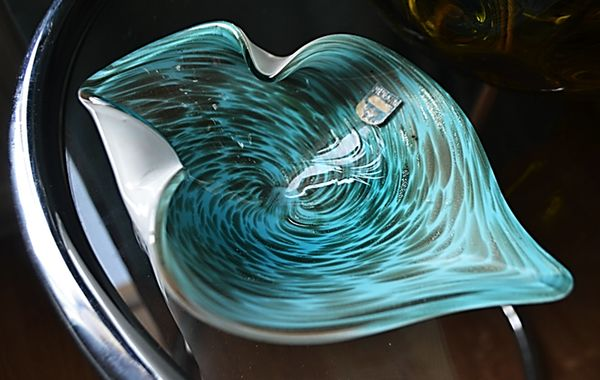 Image of Vintage Murano Glass Dish With Label