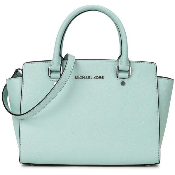 Womens Shoulder Bags Michael Kors Selma Medium Mint Leather Tote ($410) ?  liked on