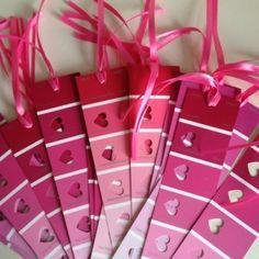 I love this Valentine's Day craft idea. Just take paint samples and let the kids use heart punches and a little ribbon to make homemade bookmarks. : )