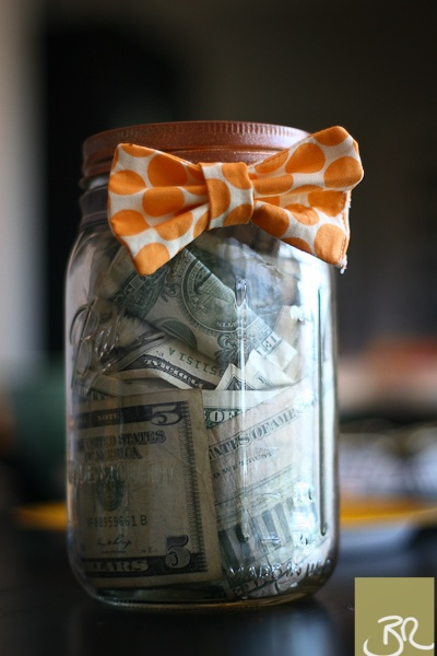 Money Jar for Baby Shower.  Metal Stamping and Bow Tie  cute idea!... I'd decorate it a little more and stick in some coupons for diapers or something like that ;)