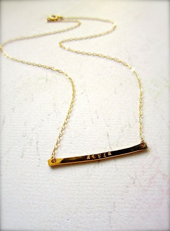 An update to the name necklace. Love! Custom tiny name necklace in gold, $45 by FoamyWader on Etsy.