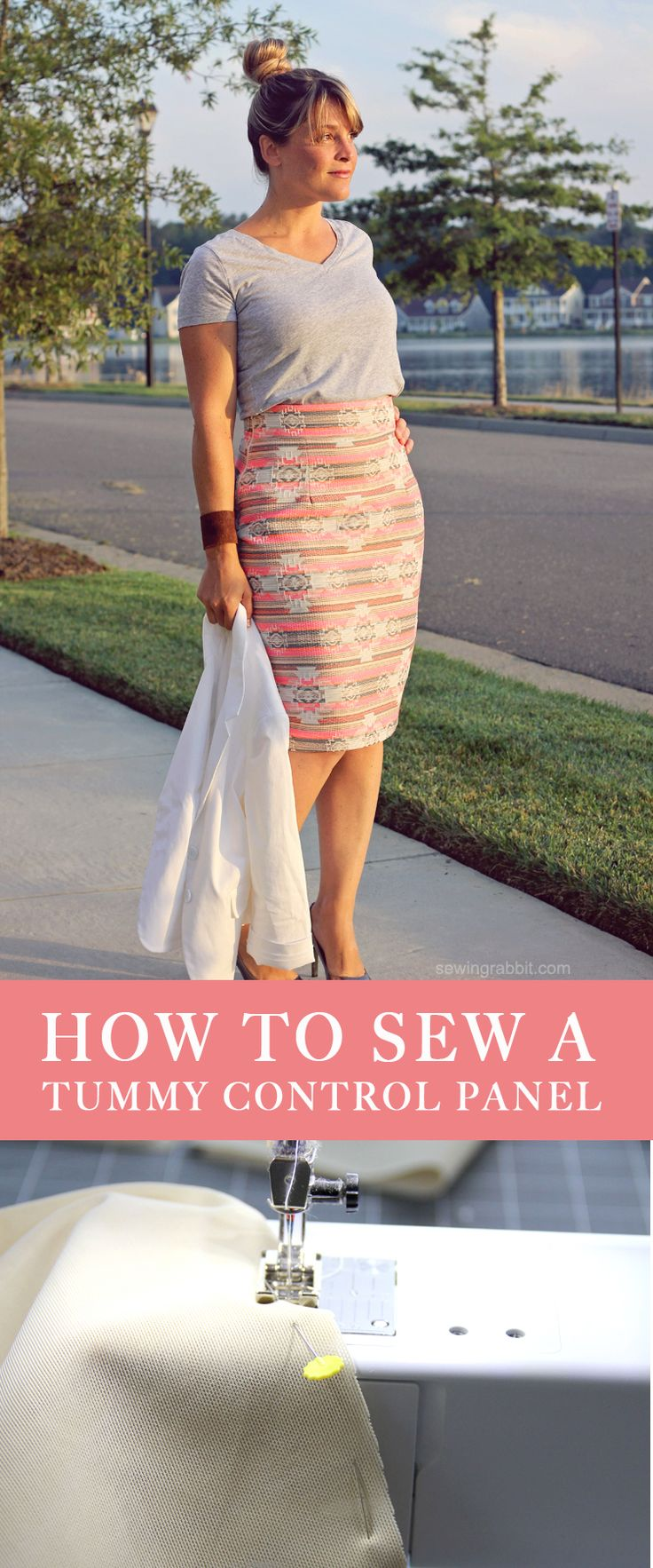 [how to sew a tummy control panel] putting power mesh into a pencil skirt in lieu of lining #LetsSew