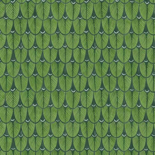 Narina Wallpaper An intriguing wallpaper featuring the stylised feathers of the South African Narina Trogan Bird, cleverly depicted as a geometric design, shown with a subtle watercolour effect in green. This wallpaper can also be hung upside down for an equally striking effect.