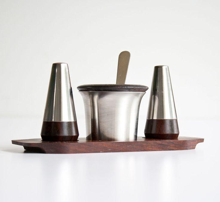 Vintage Lundtofte Denmark Danish Modern Rosewood Condiment Set by kibster on Etsy