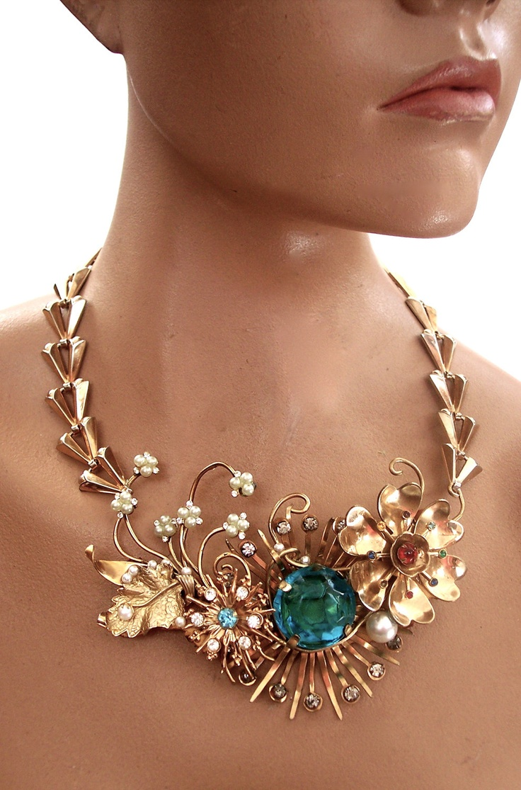 Bib Necklace Vintage Recycled Copper and Aqua by secondlookjewelry