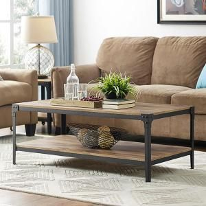 Walker Edison Furniture Company Angle Iron Barnwood Storage Coffee Table HD46AICTBW at The Home Depot - Mobile