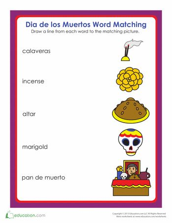 Worksheets Day Of The Dead Worksheets 34 best images about day of the dead on pinterest coloring vocabulary