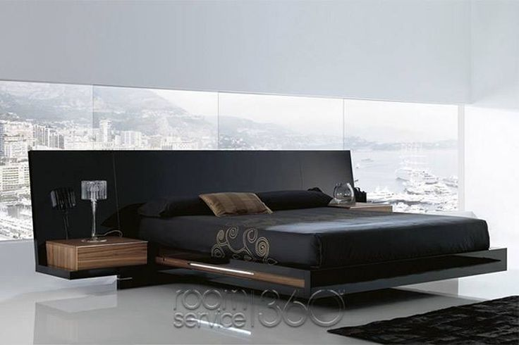 contemporary beds | Luxor 923 Designer Modern Lacquer Platform Bed by Milmueble - Optional ...