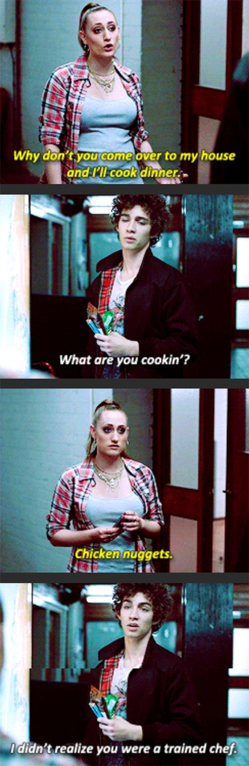 Kelly has go to be my favorite character! #misfits #nathan #kelly #chickennuggets