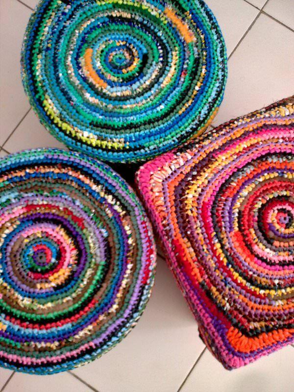 Crochet using plastic bags cut in strips.