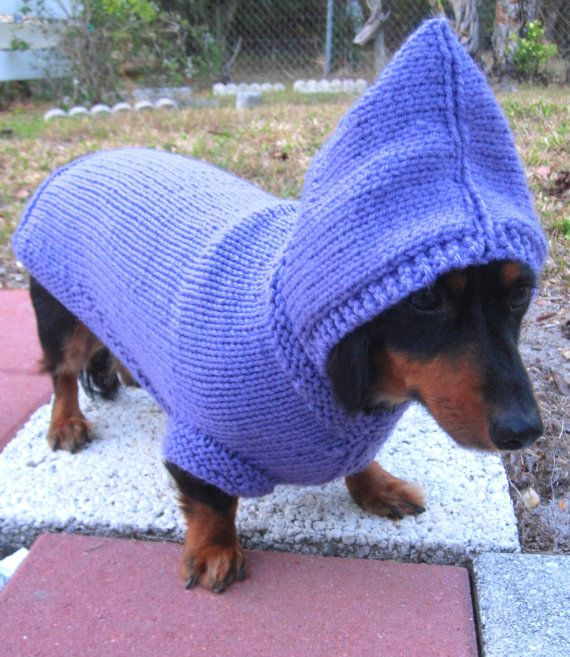 Dog Hoodie-hand knit dog hoodie/Christmas dog gift/ Daschund sweater/Whippet sweater/Italian Greyhound sweater/chinese crested sweater