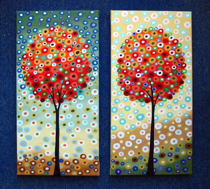 Easy Acrylic Painting Ideas- use brushes for background and trunk, and fingertips for tree and surrounding dots.