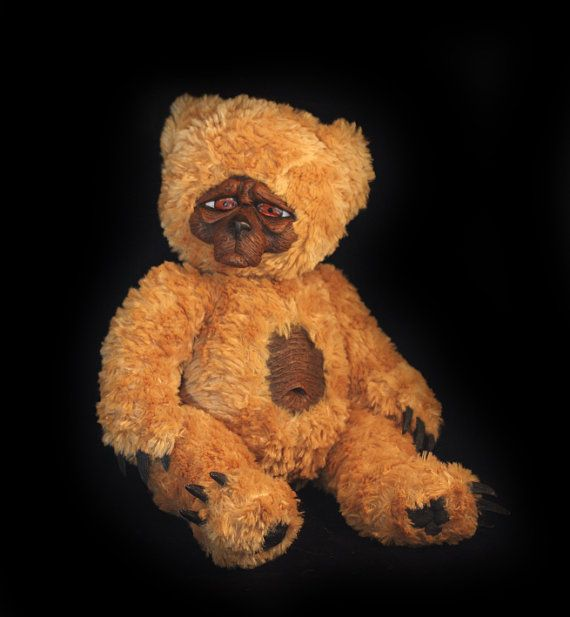 Teddy Bear plushie Scary gothic sculpt so sad but so cute handmade artist art doll sculpted fluffy furry creature great gift Lithium Larry