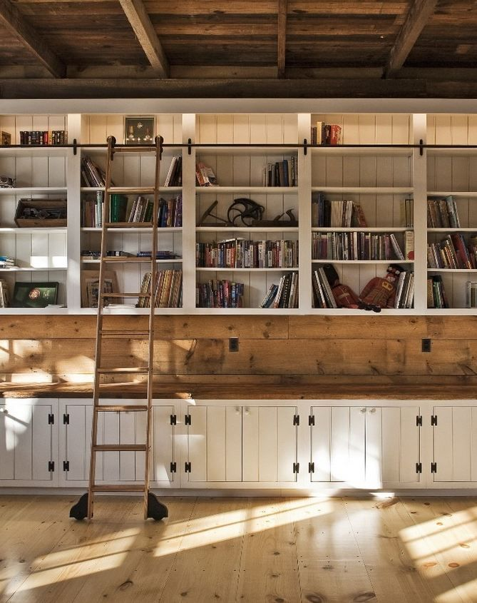 Bespoke bookcase for barn renovation; New England Country.  I see so many possibilities here;  craft space?  library/living room?  Kitchen