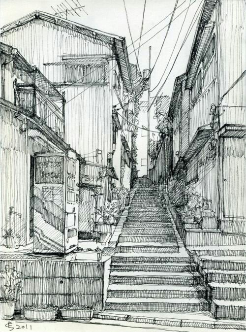 architectural-orientated line drawing pen and ink.