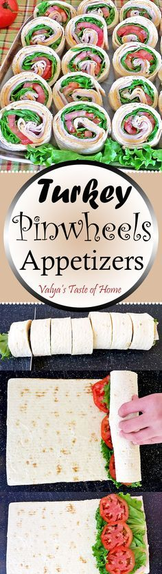 This Turkey Pinwheel recipe is great, healthy with vitamins, protein, fiber and low in fat. Plus, it's a chance to get some veggies in, such as green leaf lettuce and tomato. You can also add any of your family favorite vegetables to these pinwheels. Perfect as an after school, any holiday including New Year Appetizers. Healthy, Quick, Easy, and Delicious Appetizers!