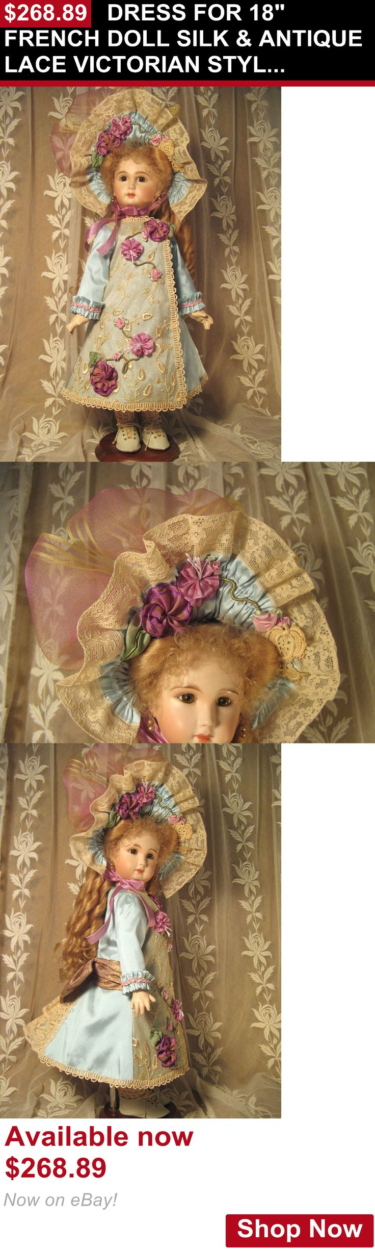 Telescope Cases And Bags: Dress For 18 French Doll Silk And Antique Lace Victorian Style Lt Aqua And Purples BUY IT NOW ONLY: $268.89