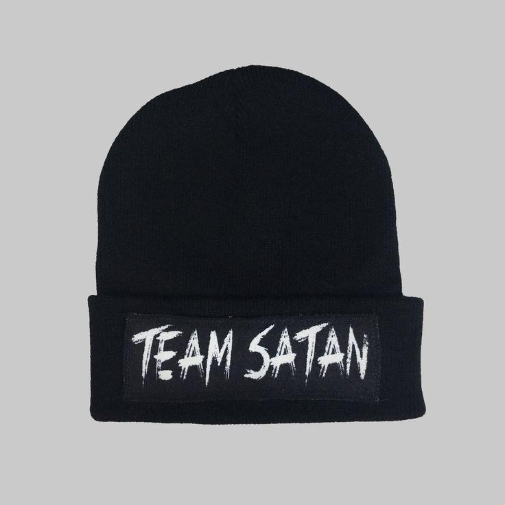 Team Satan Winter Beanie Headwear Hipster Indie Swag Dope Hype Black Hat Beanie Mens Womens Cute Slouchy Hat 666 Devil Lucifer by IIMVCLOTHING on Etsy