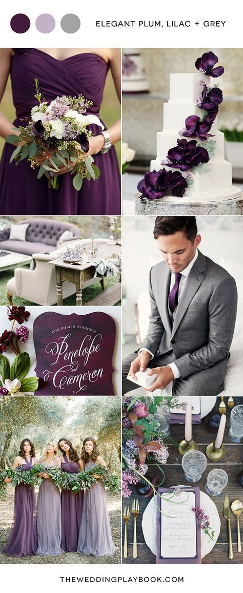 This cool toned palette would look stunning in any season, but has us dreaming of an elegant winter wedding! Plum is such a luxurious and versatile colour, so it's a great choice for your bridesmaid dresses - pair it with soft lilac florals to dial up the romance. If a purple dinner jacket isn't quite your groom's style, a silver grey suit with statement plum tie or pocket square fits just as well with this beautiful colour story. Touches of white in your cake, bouquet and stationery also…