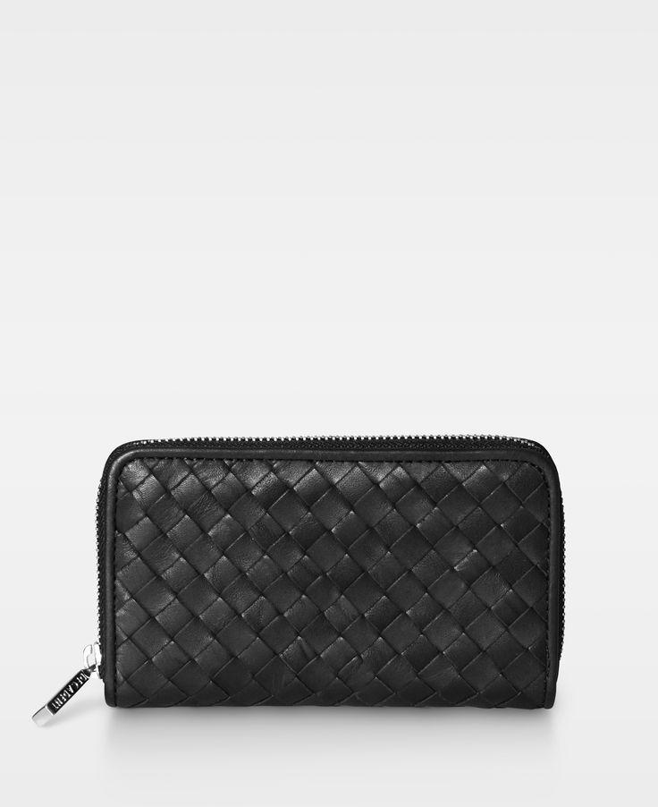 DECADENT Woven Medium Zip Wallet in Black leather.